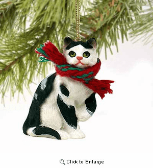 Black and White Cat Tiny One Christmas Ornament
