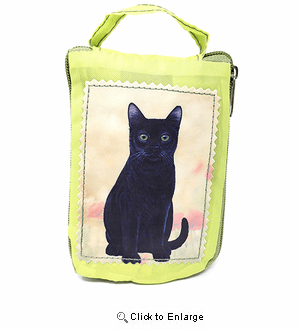 Black Cat Tote Bag - Foldable to Pouch