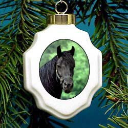 Horse Black Christmas Ornament Porcelain