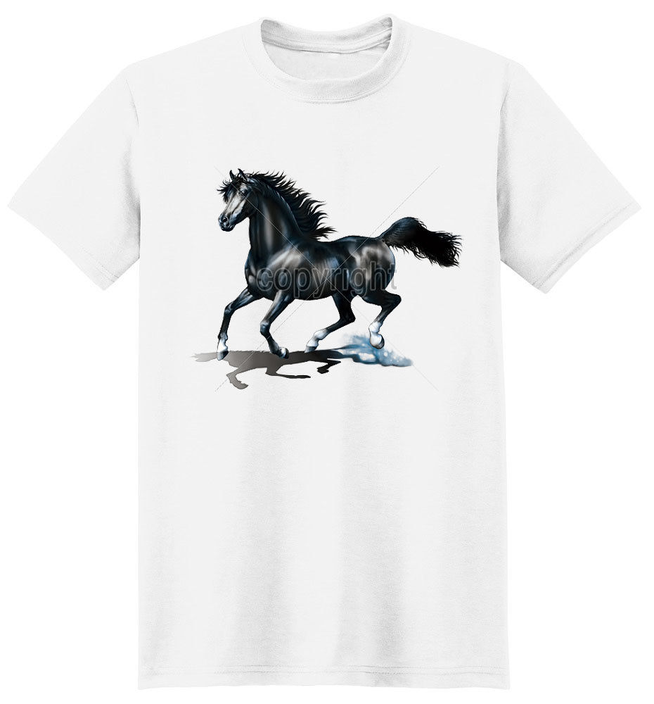 Black Horse T Shirt Powerful