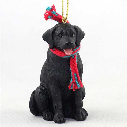 Black Lab with Scarf Christmas Ornament Large Version