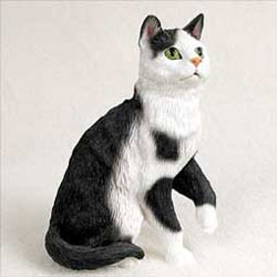 Black & White Cat Figurine