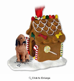 Bloodhound Gingerbread House Christmas Ornament