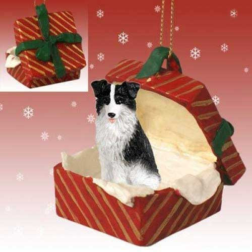Border Collie Gift Box Red Christmas Ornament