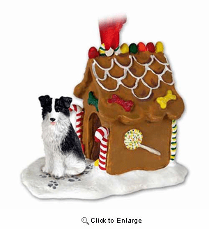 Border Collie Gingerbread House Christmas Ornament