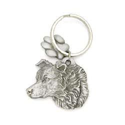 Border Collie Keychain Pewter