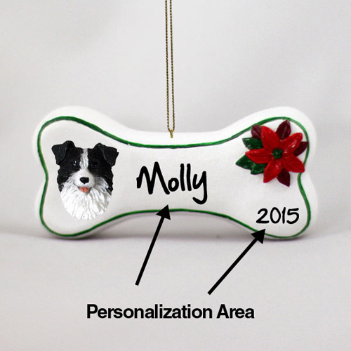 Border Collie Personalized Dog Bone Christmas Ornament
