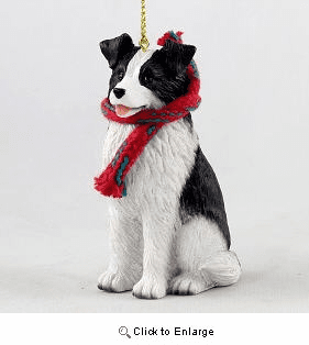 Border Collie with Scarf Christmas Ornament Large Version