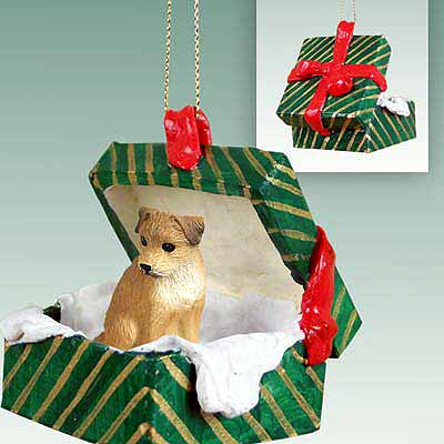 Border Terrier Gift Box Christmas Ornament