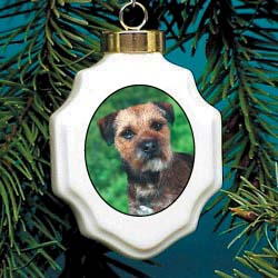Border Terrier Christmas Ornament Porcelain