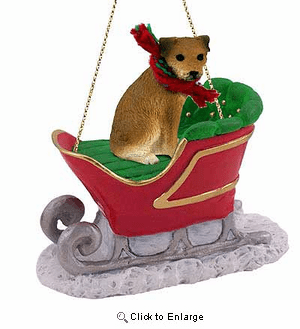 Border Terrier Sleigh Ride Christmas Ornament