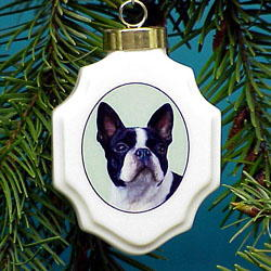 Boston Terrier Christmas Ornament Porcelain