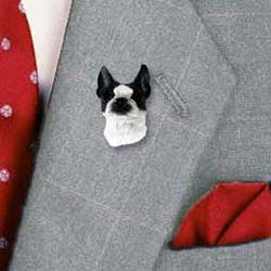 Boston Terrier Pin Hand Painted Resin