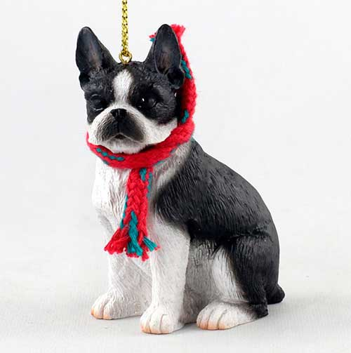 Boston Terrier with Scarf Christmas Ornament Large Version