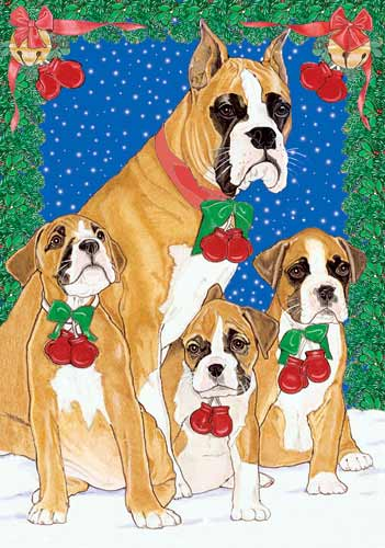 Boxer Christmas Cards Family