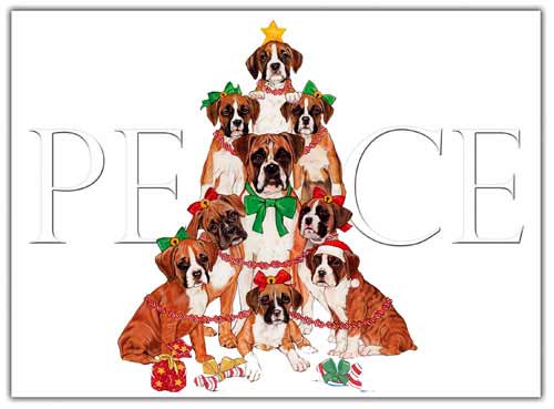 Boxer Christmas Cards Peace