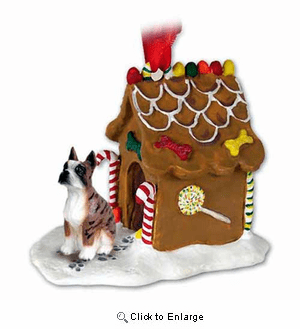 Boxer Gingerbread House Christmas Ornament Brindle