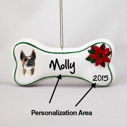 Boxer Personalized Dog Bone Christmas Ornament