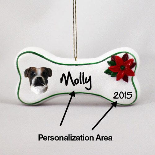 Boxer Personalized Dog Bone Christmas Ornament Brindle Uncropped