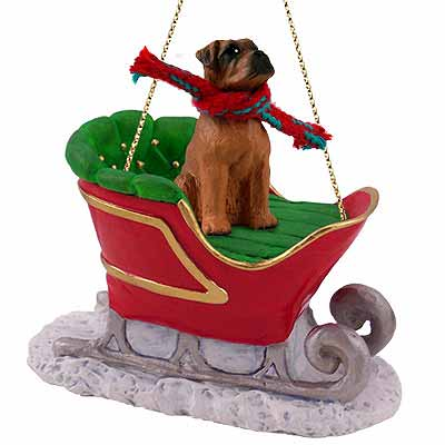 Boxer Sleigh Ride Christmas Ornament Tawny Uncropped