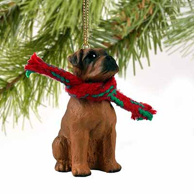 Boxer Tiny One Christmas Ornament Tawny Uncropped