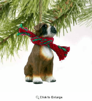 Boxer Tiny One Christmas Ornament Uncropped