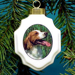 Brittany Christmas Ornament Porcelain