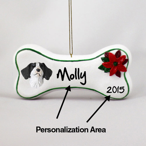Brittany Personalized Dog Bone Christmas Ornament Liver-White