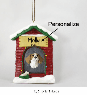 Brittany Personalized Dog House Christmas Ornament