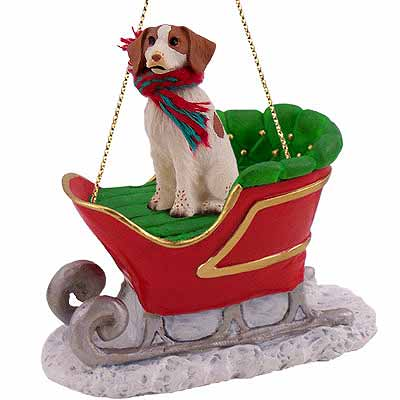 Brittany Sleigh Ride Christmas Ornament Brown-White