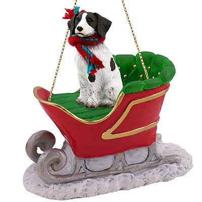 Brittany Sleigh Ride Christmas Ornament Liver-White