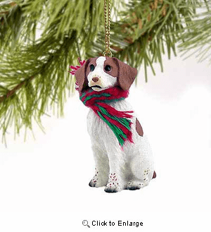 Brittany Tiny One Christmas Ornament Brown-White