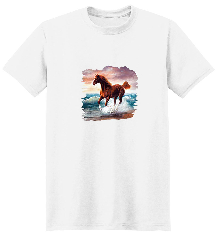 Brown Horse T-Shirt - Playing and Running