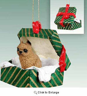 Brussels Griffon Gift Box Christmas Ornament Red