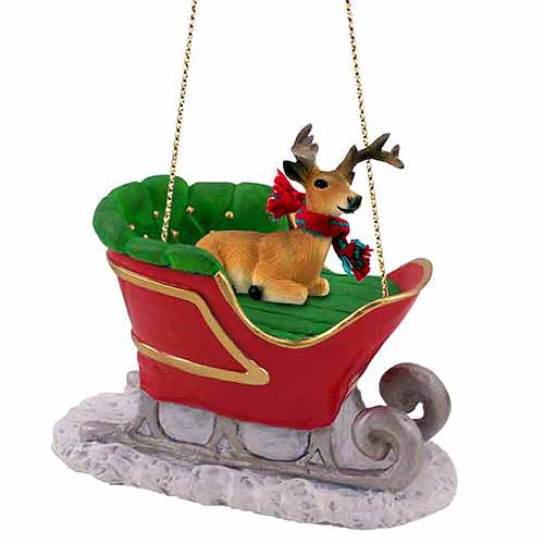 Buck Deer Sleigh Ride Christmas Ornament