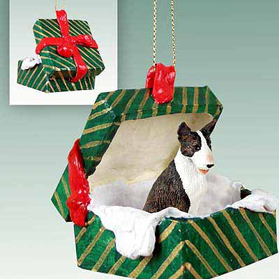 Bull Terrier Gift Box Christmas Ornament Brindle
