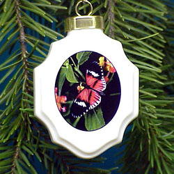 Butterfly Christmas Ornament Porcelain