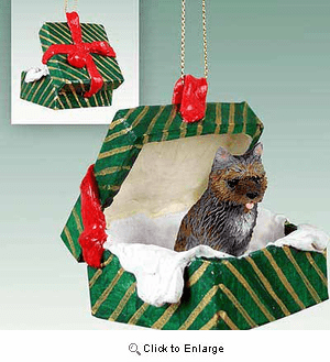 Cairn Terrier Gift Box Christmas Ornament Brindle