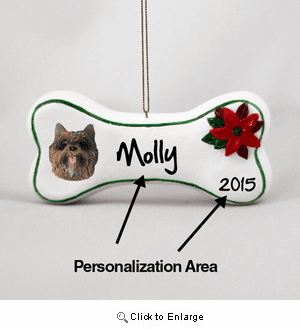 Cairn Terrier Personalized Dog Bone Christmas Ornament Brindle