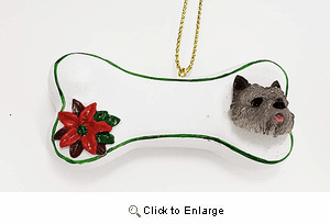Cairn Terrier Personalized Dog Bone Christmas Ornament Gray