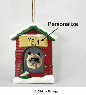 Cairn Terrier Personalized Dog House Christmas Ornament