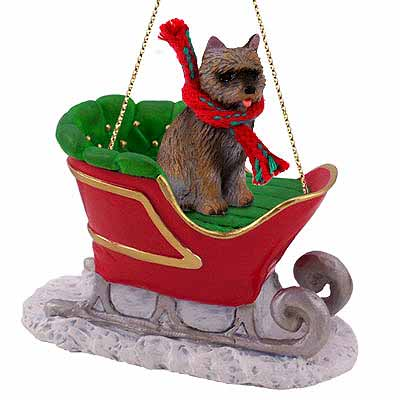 Cairn Terrier Sleigh Ride Christmas Ornament Brindle