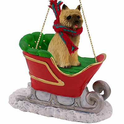 Cairn Terrier Sleigh Ride Christmas Ornament Red