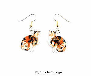 Calico Cat Earrings Hand Painted Acrylic