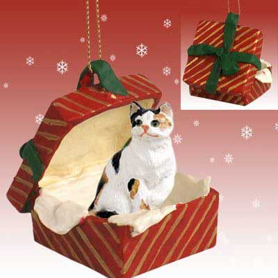 Calico Cat Gift Box Red Christmas Ornament