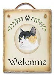 Calico Cat Slate Welcome Sign