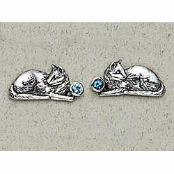 Cat Earrings Blue Topaz