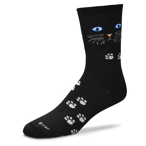 Cat Eyes Black Socks
