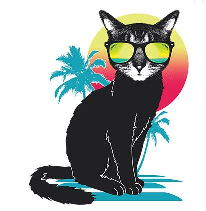 Cat T-Shirt-  Cool-Summer-Cat