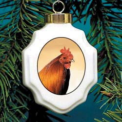 Rooster Christmas Ornament Porcelain